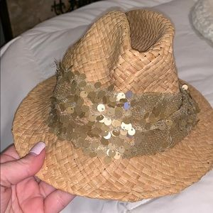Charming Charlie Fidora Sun Hat Gold Straw Sequin